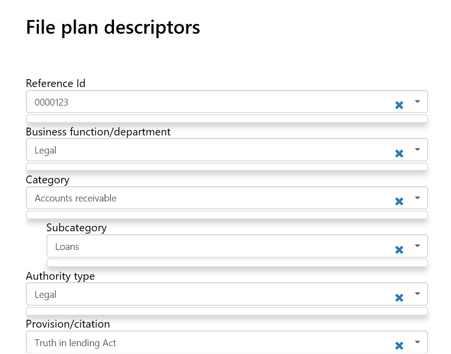 Retention - File Plan Descriptors Filled