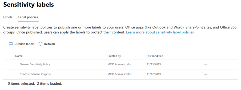 Sensitivity Label Policies in Security Admin Center.