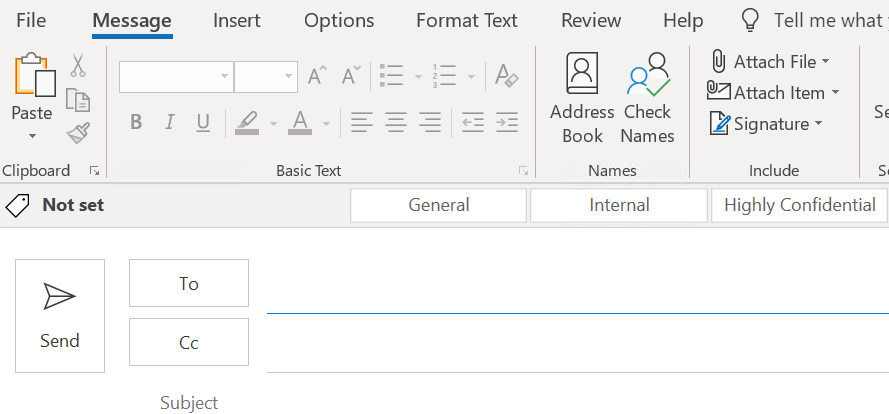 Sensitivity Label Bar in Outlook.