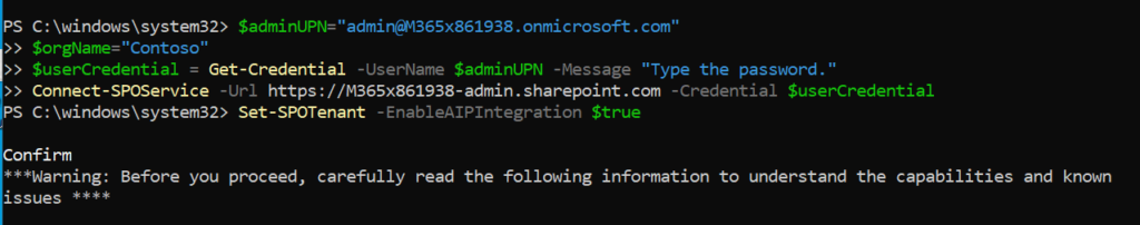 SharePoint Shell - Unified Labels Activation.