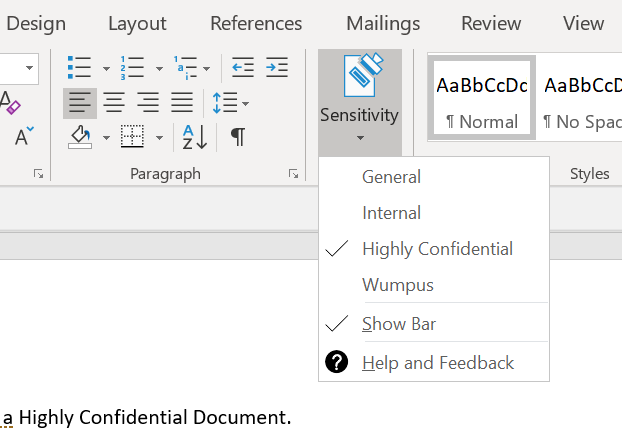 Sensitity Labels in Word Desktop - Dropdown.