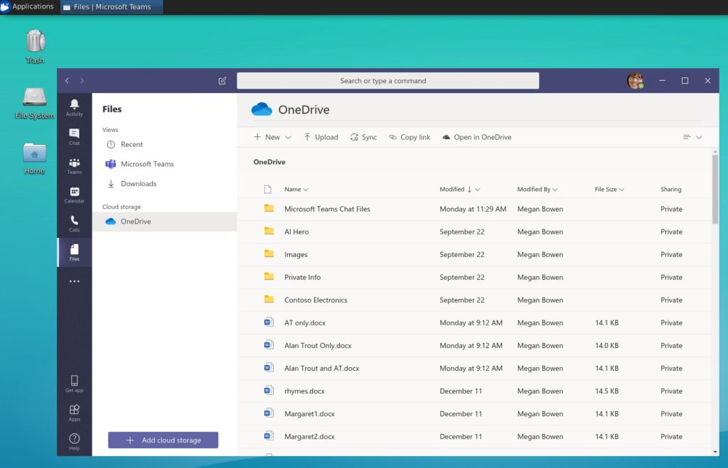 Accessing OneDrive in Teams-Linux.
