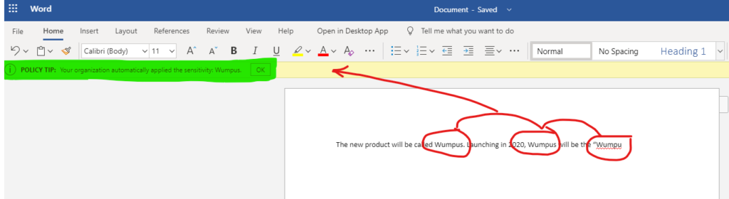 Auto Label in Word Desktop.