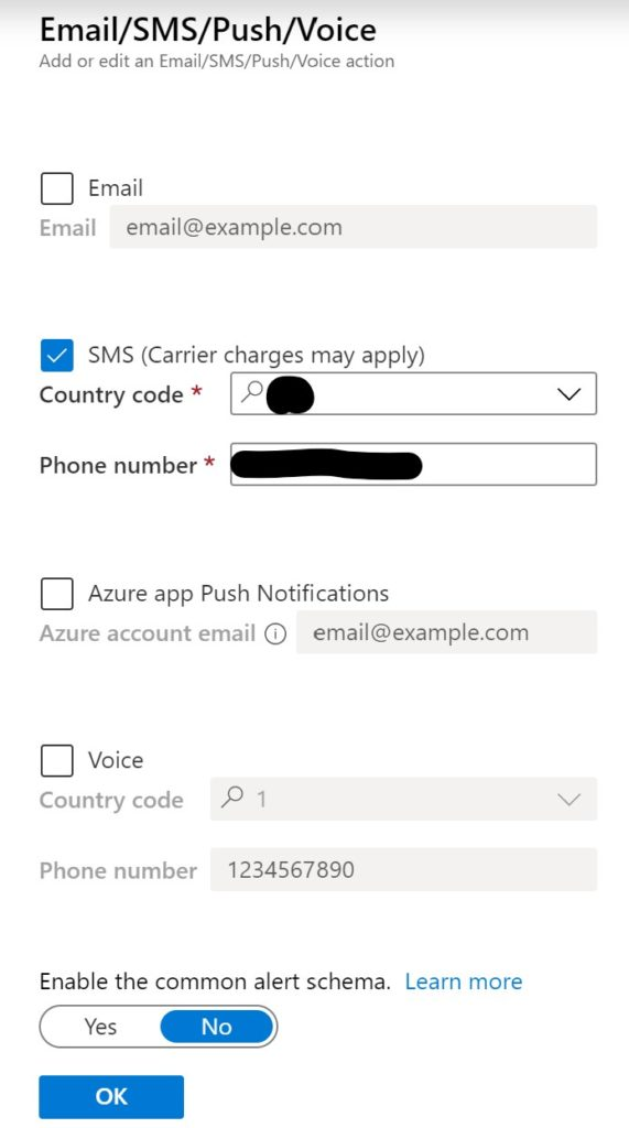Azure Action Group Email/Text/Voice notification.