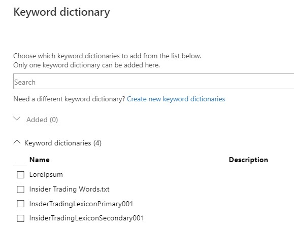 Select a Dictionary.
